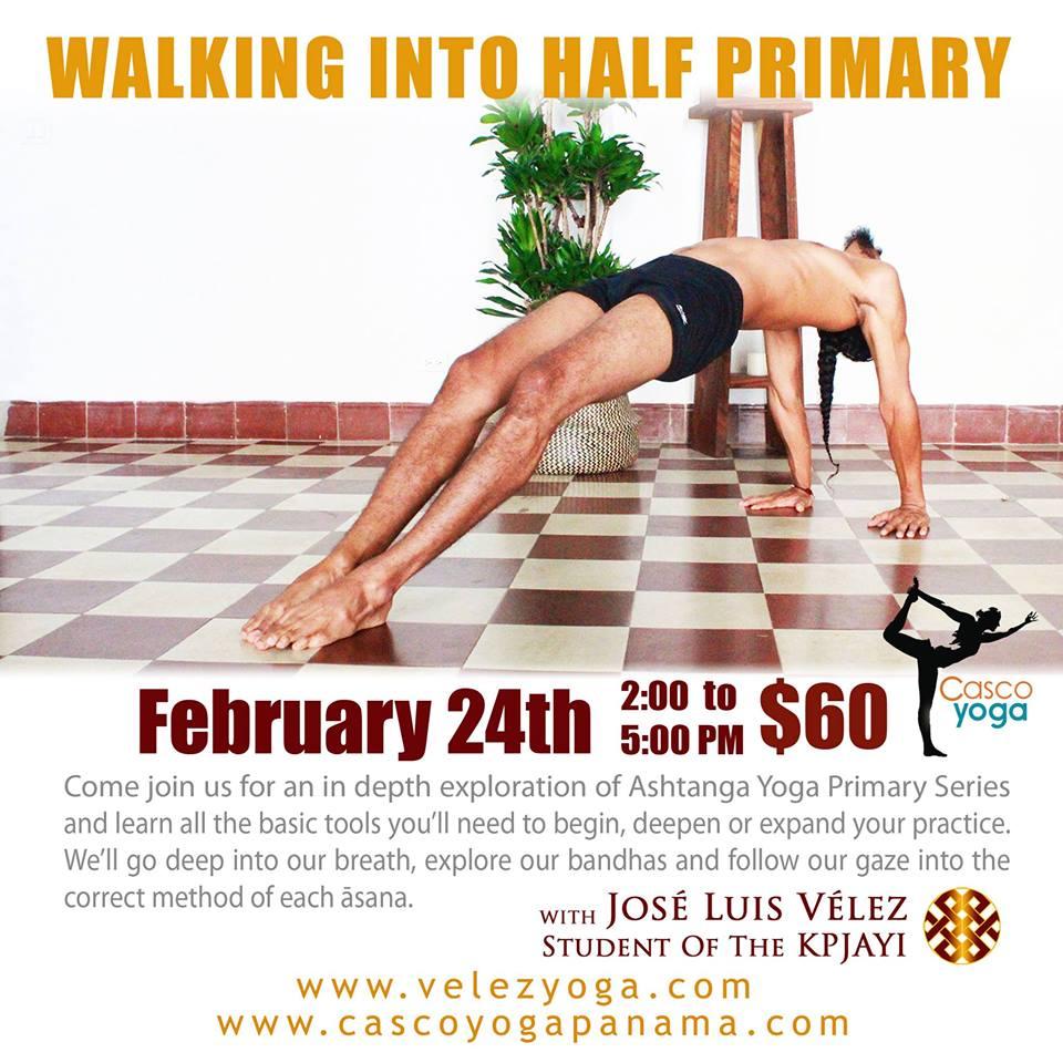 Walking Into Half Primary Ashtanga Workshop at Casco Yoga Panama with Jose Luis Velez. February 24 of 2018. Things to do Panama. Panama City Panama. Casco Viejo. Casco Antiguo. Classes de yoga en Panama. Ciudad de Panama.